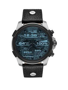 diesel-diesel-on-full-guard-silver-stainless-steel-black-leather-touchscreen-smartwatch