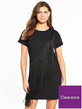 miss-selfridge-fringed-t-shirt-dress-blacknbsp