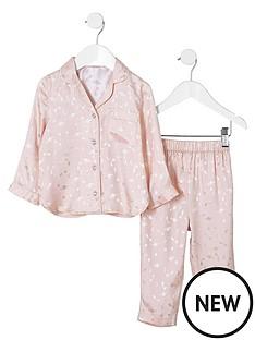 river-island-mini-girls-pink-planet-satin-pyjama-set