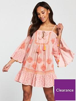 49beac43ec9 South Beach Cold Shoulder Printed Beach Dress With Pom Pom Sleeve Trim -  Pink