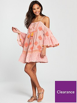 add0672c5f82 ... South Beach Cold Shoulder Printed Beach Dress With Pom Pom Sleeve Trim  - Pink. View larger