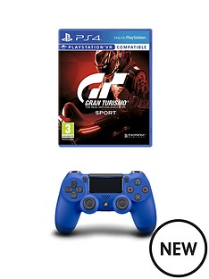 playstation-4-gran-turismo-sport-and-wave-blue-dualshock-controller-ps4