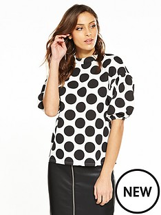 v-by-very-balloon-sleeve-top-spot-print