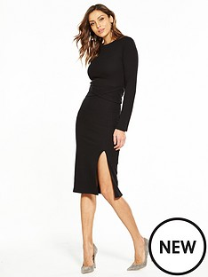 v-by-very-tie-waist-rib-midi-dress