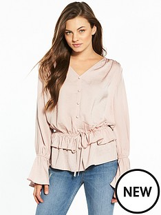 v-by-very-button-detail-peplum-blouse