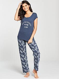 v-by-very-sundays-floral-everyday-essentials-pyjamas-navy