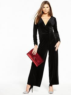 miss-selfridge-velvet-ruched-sleeve-jumpsuit
