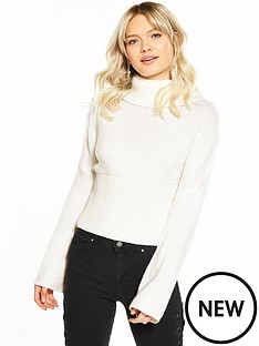 miss-selfridge-miwide-sleeve-roll-neck-jumper