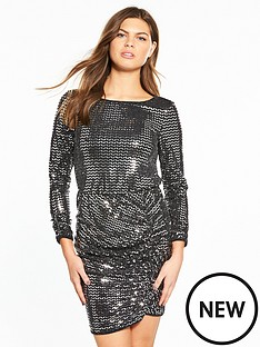 miss-selfridge-mirror-glitter-side-ruched-dress