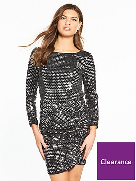 miss-selfridge-mirror-glitter-side-ruched-dress