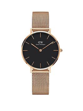 daniel-wellington-petite-melrose-rose-gold-black-dial-mesh-strap-ladies-watch