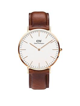 daniel-wellington-st-mawesnbsprose-gold-40mmnbspcase-brown-leather-strap-mensnbspwatch