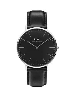 daniel-wellington-sheffieldnbspsilver-40mmnbspcase-black-leather-strap-mensnbspwatch