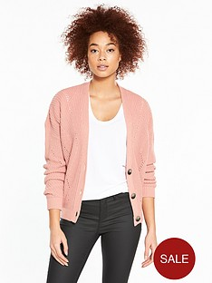 v-by-very-short-fashioned-rib-button-cardigan