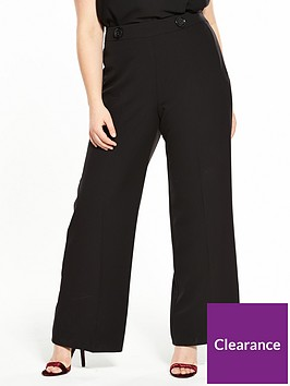 c210855ffaa9 V by Very Curve Button Detail High Waisted Wide Leg Trouser - Black ...