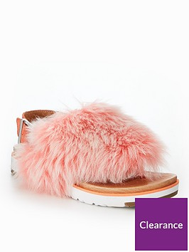 ugg-holly-fluffy-buckle-back-flat-sandals-pink