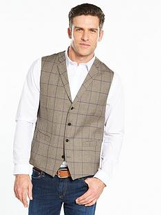 skopes-bevington-wool-blend-waistcoat-with-collar-checked
