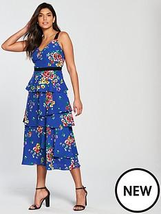 v-by-very-printed-tiered-midi-tea-dress