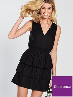 v-by-very-tiered-linen-dress-black