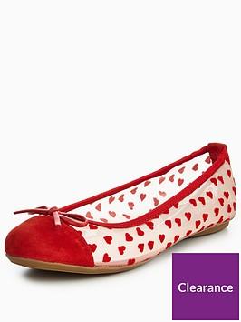 butterfly-twists-olivia-flocked-hearts-ballerina-pumps-rednbsp
