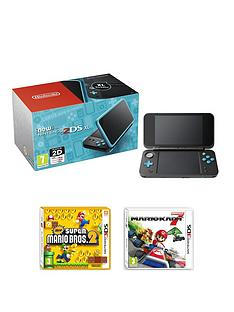 nintendo-new-nintendo-2ds-xl-black-and-turquoisenbspwith-mario-kart-7-and-new-super-mario-bros-2