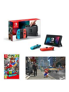 nintendo-switch-neon-red-blue-console-with-super-mario-odyssey