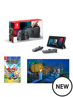 nintendo-switch-grey-console-with-with-mario-nbsprabbids-kingdom-battle