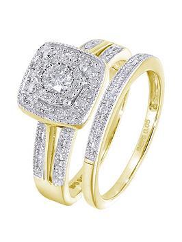Love DIAMOND Love Diamond 9Ct Yellow Gold 50 Point Diamond Square Set  ... Picture