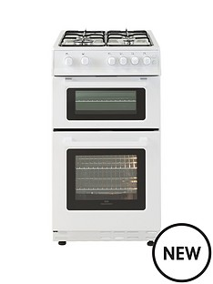 new-world-50gtc-50cm-wide-twin-cavity-gas-cooker-white-with-optional-connection