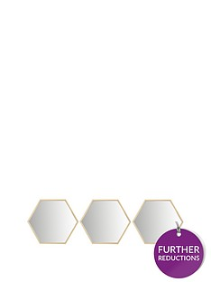 set-of-3-gold-hexagon-wall-mirrors