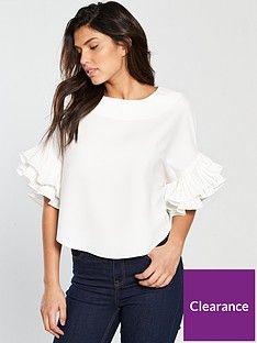 v-by-very-pleated-frill-sleeve-top-ivory