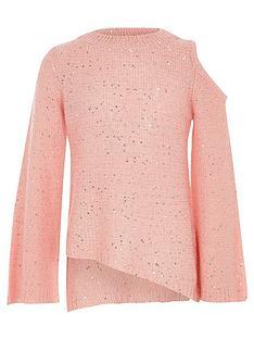 river-island-girls-pink-sequin-cold-shoulder-jumper