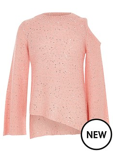 river-island-girls-pink-sequin-cold-shoulder-jumper