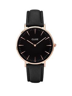 cluse-cluse-la-bohegraveme-rose-gold-case-with-black-dial-and-black-leather-ladies-strap