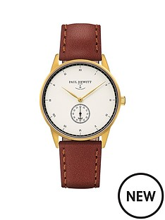 paul-hewitt-paul-hewitt-signature-line-white-dial-gold-case-brown-strap-mens-watch