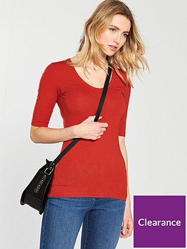 v-by-very-round-neck-cotton-basic-top-rednbsp