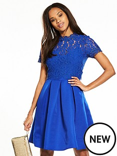 little-mistress-lace-top-skater-dress-blue