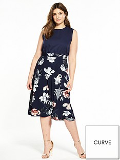 ax-paris-curve-2-in-1-printed-skater-dress