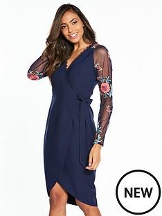 little-mistress-embroidered-mesh-sleeve-wrap-midi-dress
