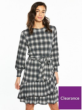 v-by-very-petite-ruffle-hem-jersey-tea-dress-check-print