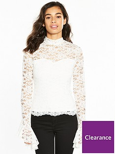 v-by-very-petite-flute-sleeve-lace-top