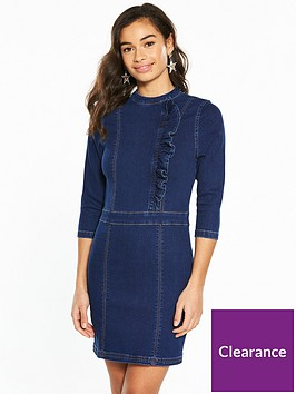 v-by-very-petite-ruffle-front-denim-mini-dress