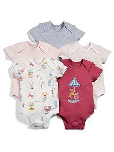 Mamas Papas Baby Girls 5 Pack Circus Short Sleeve Bodysuits