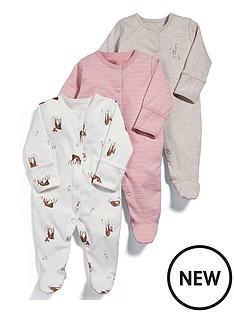 mamas-papas-baby-girls-3-pack-deer-sleepsuits