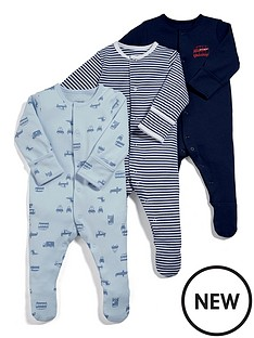 mamas-papas-baby-boys-3-pack-transport-sleepsuits