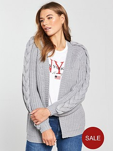 v-by-very-plaited-cable-blouson-sleeve-rib-cardigan-grey-marl