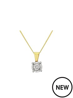 starlight-9ct-gold-14ct-look-5-point-diamond-illusion-set-pendant-and-chain