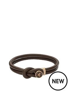 emporio-armani-mensnbspbrown-leather-button-logo-bracelet