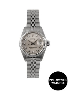 rolex-rolex-pre-owned-datejust-original-silver-diamond-dial-stainless-steel-ladies-watch-ref-69174