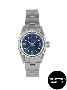 rolex-rolex-pre-owned-oyster-perpetual-blue-dial-and-diamond-bezel-stainless-steel-ladies-watch-ref-76080